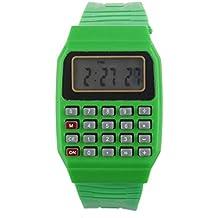 Tongshi Unsex silicona Multiuso Fecha Hora de Pulsera Electrónica Calculadora Reloj(verde)