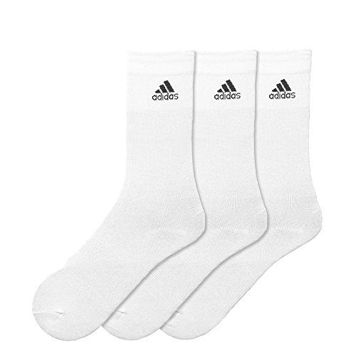 adidas Unisex Socken PER CREW T 3PP - Weiß (White/White/Black) , 43-46