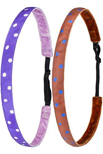 Ivybands® Kids | Anti-Rutsch Haarband für Kinder | 2-er Pack | Braun Blau Gepunktet, Lila Weiss Gepunktet | Kinderhaarband (1,6 cm Breite) IKID044 IKID031