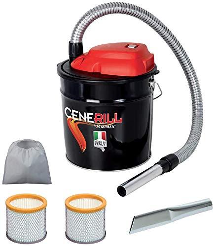 Cenerill - Aspirador de cenizas eléctrico de 800W, depósito de18l, con doble filtro y boquilla...