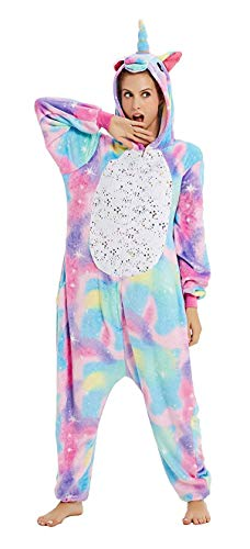Erwachsene Unisex Einhorn Tiger Lion Fox Onesie Tier Schlafanzug Cosplay Pyjamas Halloween Karneval Kostüm Loungewear (Einhorn Glänzend, XL passt Höhe 174-183cm) (Einhorn Kostüm Männer)