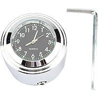 """Broco 7/8"""" 1"""" de la motocicleta del montaje del manillar del reloj de tiempo preciso de marcación Mantener Reloj (Negro)"""