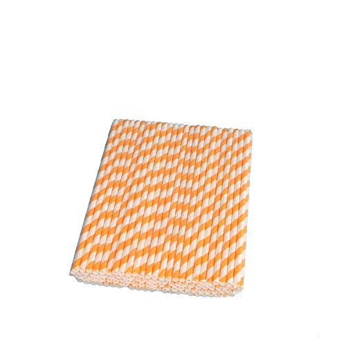 apiertrinkhalme Strohhalme Trinkröhrchen aus Papier 6x220mm orange weiß gestreift ()
