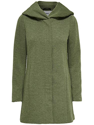 ONLY Damen-Woll-Mantel onlSedona Link Coat 15144772 Kurz-Mantel Übergang-Jacke, Farbe:Grün, Größe:XXL