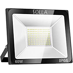 SOLLA Projecteur LED 60W, IP66 Imperméable, 4800LM, Eclairage Extérieur LED, Equivalent à Ampoule Halogène 340W, 6000K Lumière Blanche du Jour, Eclairage de Sécurité