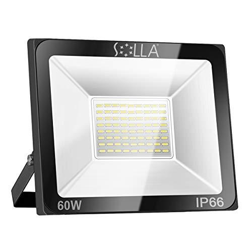 SOLLA 60W LED Flutlicht Outdoor-Sicherheitsleuchte, 340W Äquiv, 3000K Warmweiß, 4800LM, Wasserdicht IP66, Außenwandleuchte, 24 Monate Garantie -