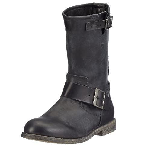 Buffalo London 13980 WASHED LEATHER, Damen Biker Boots, Schwarz (BLACK 01), 41 EU