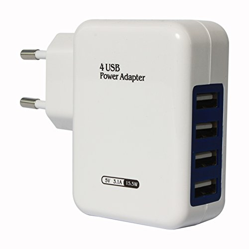 15.5W 3.1A 4-Port USB Wall Charger Portable Travel Adapter for Apple iPhone/Samsung Mobiles/Android Tablets/Smartphones