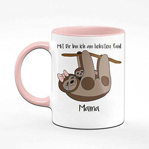 Faultier Tasse Mama mit Dir Bin Ich am Liebsten Faul - Kaffeetasse - Geschenk für Mama - 2