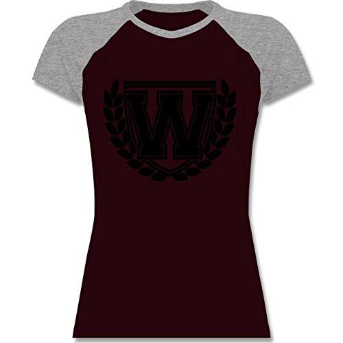 Anfangsbuchstaben - W Collegestyle - zweifarbiges Baseballshirt / Raglan T-Shirt für Damen Burgundrot/Grau meliert