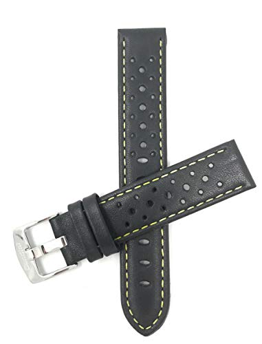Bandini 22mm Schwarz Mit Gelber Naht Herren Leder Uhrenarmband, Perforiert, Stil Gt Rally