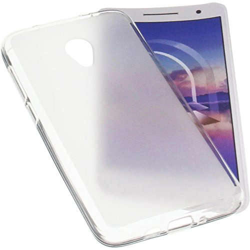 foto-kontor Tasche für Alcatel U5 HD Gummi TPU Schutz Handytasche transparent weiß - Hd-gummi