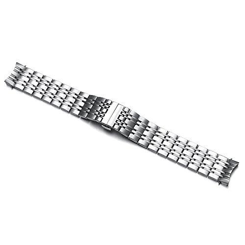 19 mm Edelstahl Uhrenarmband Band Ersatz Gebogenes Ende für Tissot Carson T085 - Tissot Edelstahl Uhrenarmband