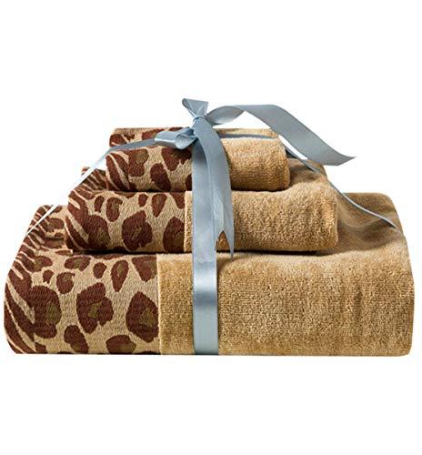 HHXWU Baumwolle Badetuch Set von Drei Mode sexy Leopard Druck 2 Handtuch 1 Badetuch High-End-Geschenk-Set, Leopardenmuster (Handtücher Leopard)