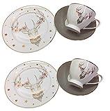Boltze Idee Kaffeeset Kaffeeservice Hirschkopf Glary mit Goldrand 6 teilig, Porzellangeschirr