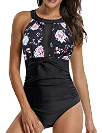 9d6207c64ba Sixyotie Swimming Costume for Women One Piece High Neck Mesh Ruched Swimsuit  Beach Swimwear