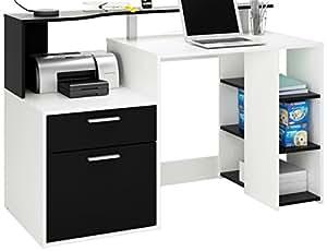 Demeyere 305889 Oracle MultiMedia avec 1 Porte/Tiroir Panneau de Particules Blanc/Noir 139,8 x 55,1 x 91 cm