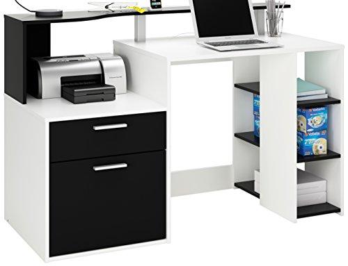 Demeyere 305889 Schreibtisch ORACLE mit 1 Türig und 1 Schublade, 139,8 x 91 x 55,1 cm, perle weiß und schwarz