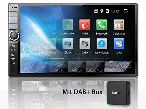 Tristan Auron BT2D7020A Autoradio + DAB+ Box, Android 8.1, 7'' Touchscreen Bildschirm, GPS Navi, Bluetooth Freisprecheinrichtung, Quad Core, USB/SD, OBD 2, DAB, 2 DIN