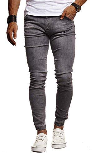 Leif Nelson Herren Jeans Hose Slim Fit Denim Blaue graue Lange Jeanshose für Männer Coole Jungen weiße Stretch Freizeithose Schwarze Cargo Chino Sommer Winter Basic LN9170 Schwarz W31/L30
