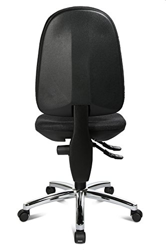 Topstar Bürostuhl mit Bandscheibensitz Point 30 deluxe, Bezug anthrazit in Filzoptik – Hartbodenrollen / Stahlfußkreuz verchromt