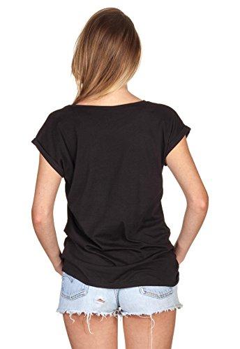 T-Shirt Top Oberteil Damen Loomiloo Seal Siegel Stars Stripes Bird Vogel Adler Schwarz