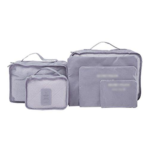 Dexinx Satz von 6 Reise Kleidertaschen Verpackungswürfel Organizer Wäschesack Gepäck Kompressionstaschen Tasche in Tasche Taschenorganizer Grau