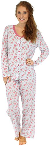 Sleepyheads Ladies Lightweight 100% Cotton Long Sleeve Nightwear Button Front Sleepwear Set(STCJ1PBR-MED)