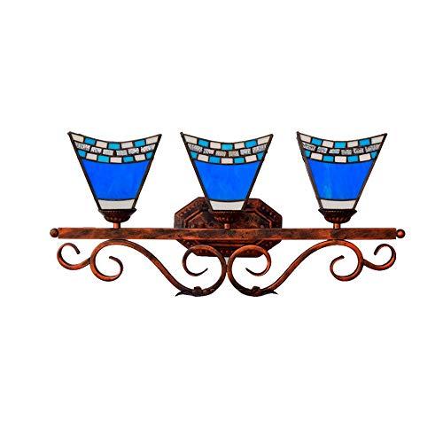 WMING Tiffany Wandleuchte Vintage Pastoral Wandleuchte mit Glasmalerei 3 Köpfe Loft Bar Korridor Hauptbeleuchtung E27