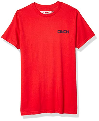 Cinch Herren Cotton Jersey Crew Neck Tee with Front and Back Screen Print T-Shirt, Fiery Red EL, XX-Large -
