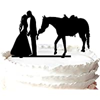 Meijiafei Kuchen-Dekoration Cowgirl und Cowboy Braut und Br/äutigam mit Pferd