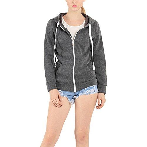 Lover-Beauty Sweatjacke Damen Kapuzenpullis Reißverschluss Langarm Hoodie Einfarbig Kapuzenpullover (Reißverschluss-hoodies)