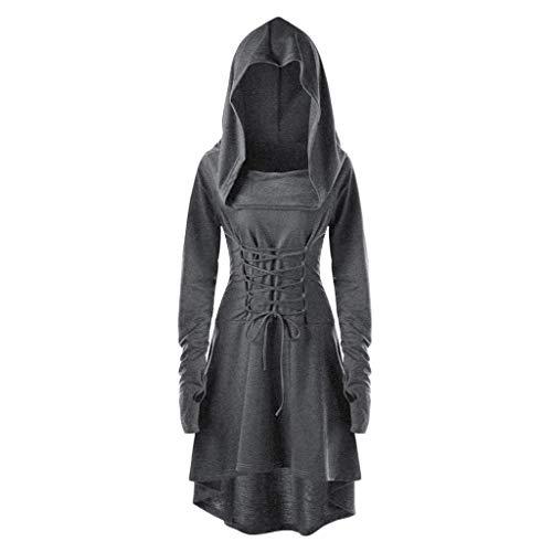 MIRRAY Frauen Kostüme Schnüren Mit Kapuze Vintage Langes Kleid Hülsen-Schnüroberteile Umhang Poncho Kap Outwear -