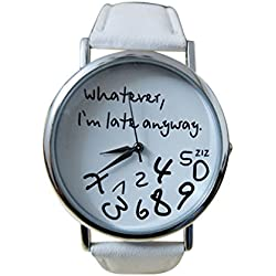 Tonsee Women Leather Watch Whatever I am Late Anyway Letter Watches White