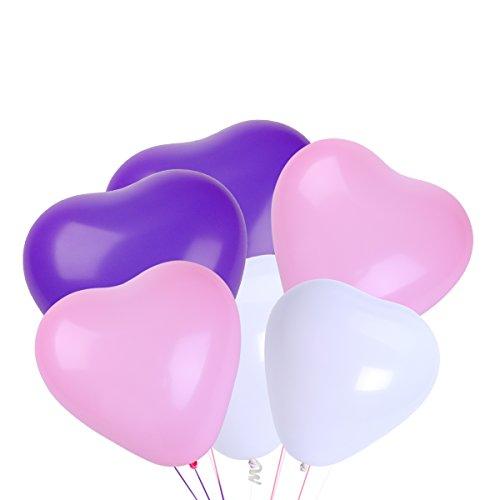NUOLUX Herz Luftballons,10 Zoll weiße rosa lila Latex-Ballons für Party-Zubehör, 50 Stück