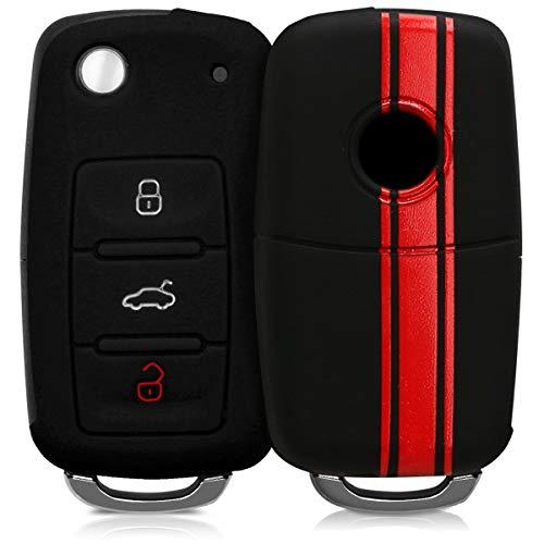 kwmobile Autoschlüssel Hülle für VW Skoda Seat - Silikon Schutzhülle Schlüsselhülle Cover für VW Skoda Seat 3-Tasten Autoschlüssel Rot Schwarz