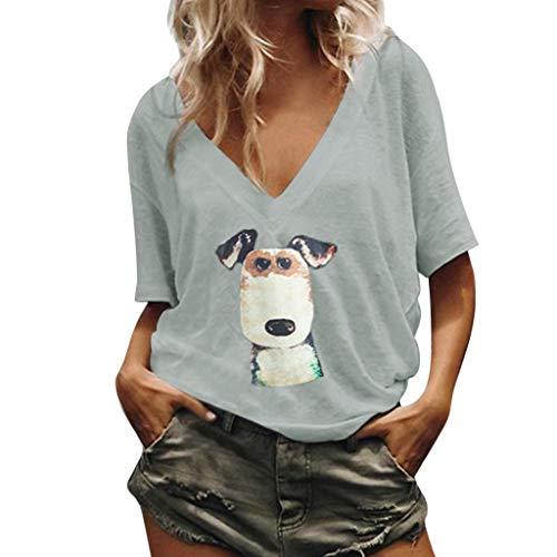 Pullover Sweatshirt für Damen,Kobay 2019 Halloween Heiligabend Weihnachten Frauen Casual Plus Size Hund V Ausschnitt Hund gedruckt lose Tunika Shirt Bluse Tops T Shirt Bluse Pullover -
