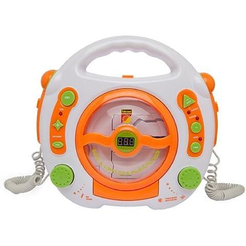 Idena 6800533 - Lettore CD und MP3 con 2 microfono per cantare sulla musica e attacco USB, colore: Bianco
