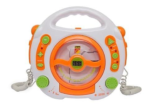 Idena 6800533 - CD und MP3-Player mit zwei Mikrofonen zum Mitsingen und USB Anschluß, weiß