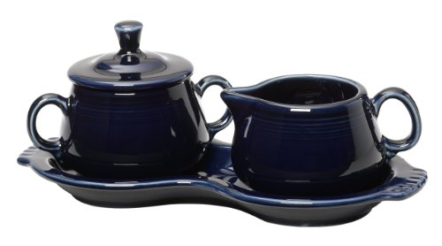 Fiesta Covered Creamer and Sugar Set with Tray, Cobalt by Homer Laughlin Creamer Tray Set