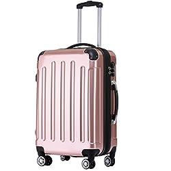 BEIBYE Zwillingsrollen 2048 Hartschale Trolley Koffer Reisekoffer in M-L-XL-Set in 17 Farben (Rosa Gold, L)