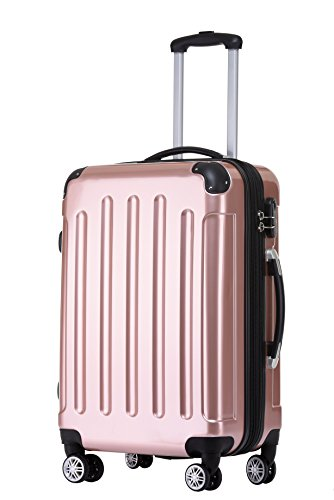 BEIBYE Zwillingsrollen 2048 Hartschale Trolley Koffer Reisekoffer in M-L-XL-Set in 17 Farben (Rosa Gold, XL)