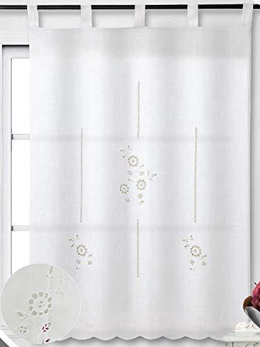 ForenTex Cortinas Cocina 100x150cm Bordadas Florales