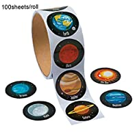 100pcs/roll Creative Solar System Stickers Realistic Planet Outer Space Sticker Self Adhesive Craft Stickers Space Themed Stickers School Stationery Party Favor for Kids