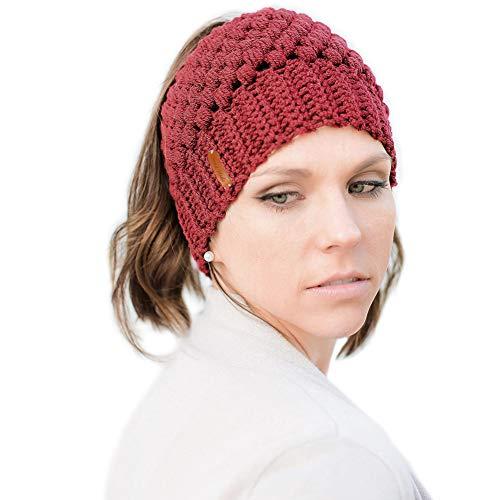 Tacobear Mujer Sombreros de Invierno Knit Ponytail Beanie Hat Caliente Gorro de Punto de Invierno y el Agujero (Rojo)