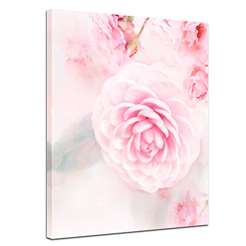 Wandbild - Aquarell - Rosa Rosen - Bild auf Leinwand 50 x 60 cm einteilig - Leinwandbilder - Bilder als Leinwanddruck - Pflanzen & Blumen - Malerei - Natur - rosafarbene Blüten - Bild Rosa Rosen
