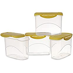 All Time Plastics Delite Container Set, 1 Litre, Set of 4, Yellow