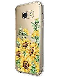 16Jessie Hülle Kompatibel Samsung Galaxy A5 2017 Hüllen, Galaxy A3 2017 Schutzhülle Durchsichtig Silikon Handyhülle Clear TPU Schutz Handytasche Blumen Muster Case Cover für A5 2017