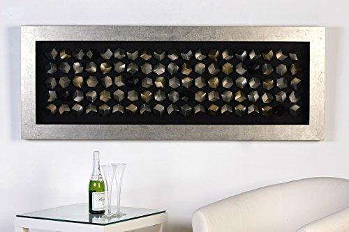 Casablanca Edles Wandbild Cubes 160 x 60cm Silber Glas Würfel plastisch 3D - Glas-cube-bild
