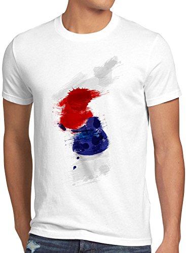 CottonCloud Flagge Korea Herren T-Shirt Fußball Sport Hangug WM EM Fahne, Größe:M, Farbe:Weiß -